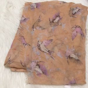 Bird Print Lightweight Scarf
